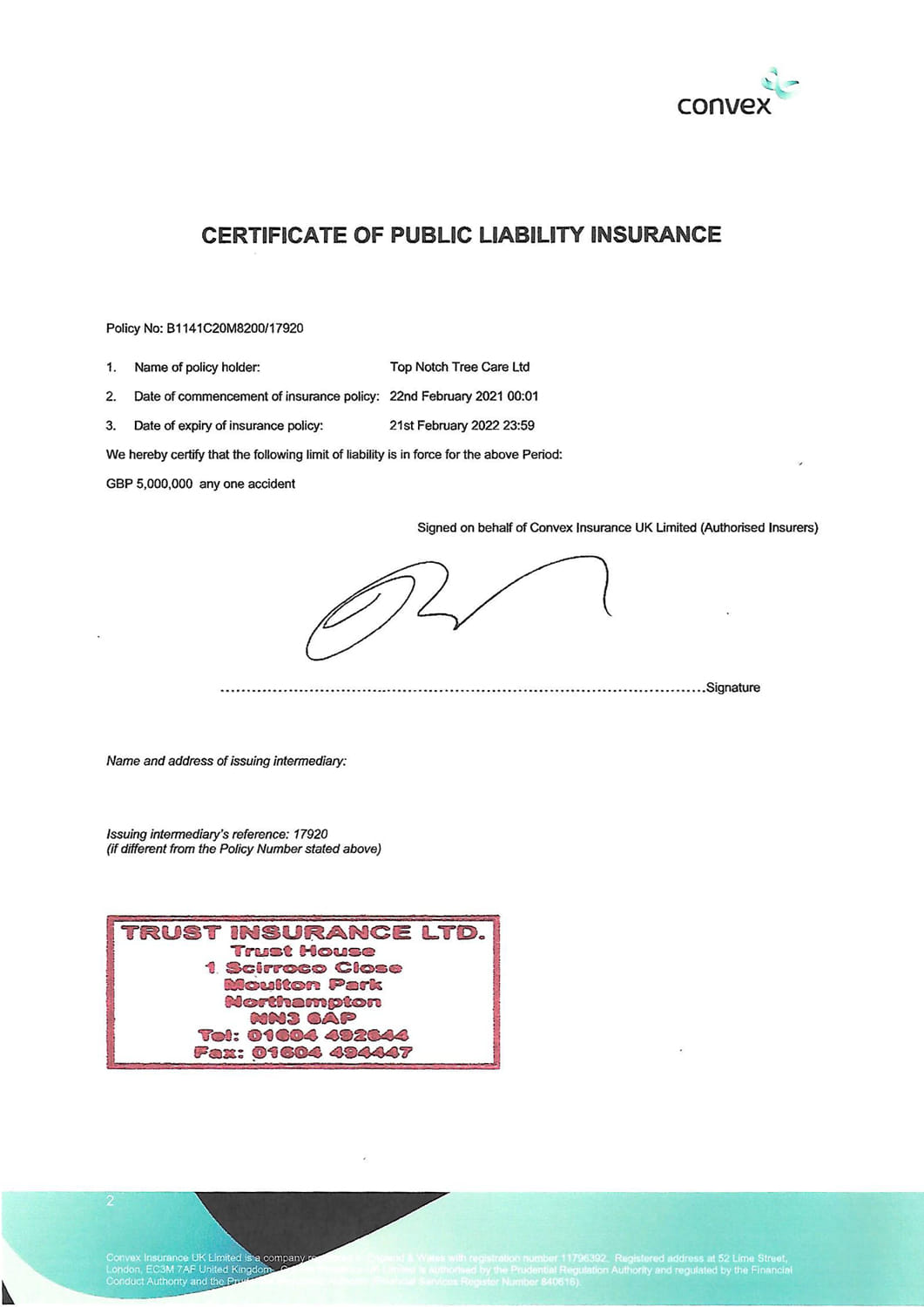 Certificate of Public Liability Insurance